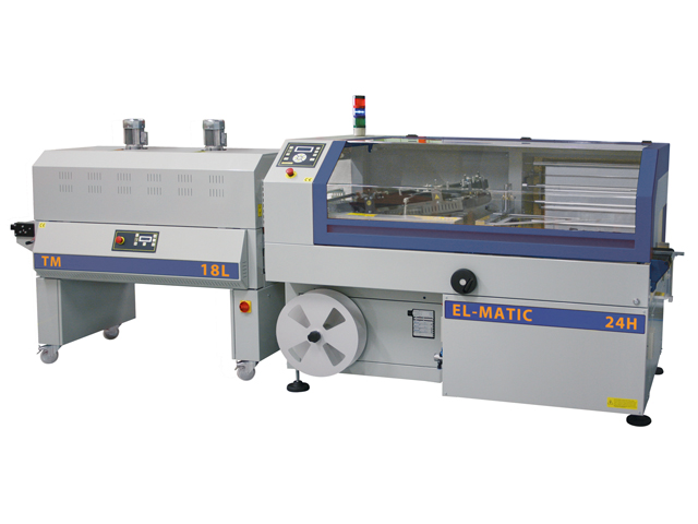 Winkelschweißgerät EL-Matic kombiniert mit Schrumpftunnel TE-Matic