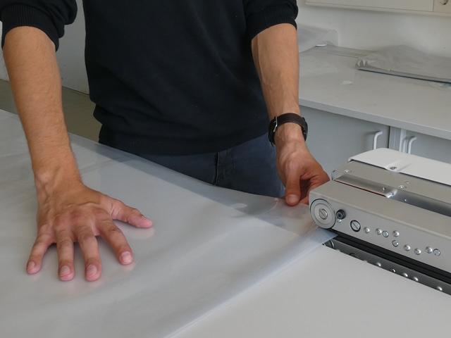 Durchlaufschweißgerät MSPS mit Schienenführung für thermoplastischen Folien wie Polyäthylen (PE)